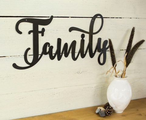 Family Metal Wall Art Words, Farmhouse Decor, Rustic Raw Living Room Decoration, Wall Quote, Housewarming Gift