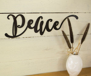 Peace Sign Metal Word Art, Farmhouse Decor, Wall Decoration, Housewarming Gift