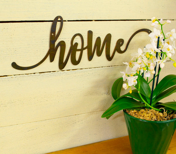 Home Metal Sign, Farmhouse Decor, Rustic Raw Metal Word Wall Art, Housewarming Gift