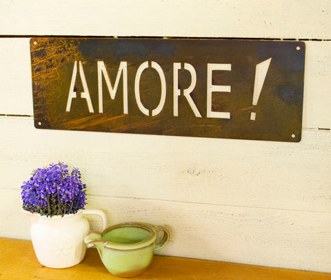 Amore Metal Sign, Farmhouse Decor, Rustic Raw Metal Word Wall Art, Country Kitchen Decoration,  Housewarming Gift