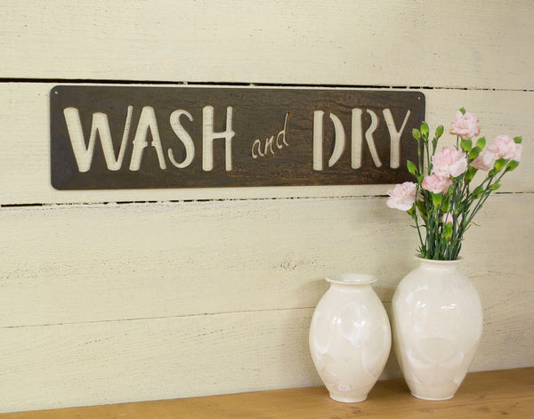 Wash and Dry Metal Sign, Farmhouse Decor, Rustic Raw Metal Word Wall Art, Country Decoration,  Housewarming Gift