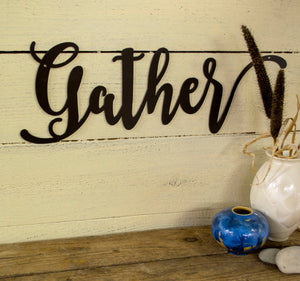 Gather Metal Sign, Farmhouse Decor, Rustic Raw Metal Word Wall Art, Kitchen,  Housewarming Gift
