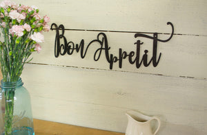 Bon Appetit Metal Sign, Farmhouse Decor, Rustic Raw Metal Word Wall Art, Kitchen,  Housewarming Gift