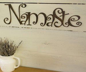 Namaste Metal Sign, Farmhouse Decor, Rustic Raw Metal Word Wall Art, Yoga, Housewarming Gift
