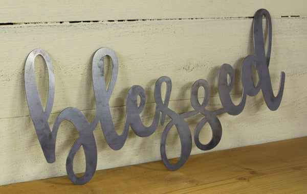 Blessed Metal Sign, Farmhouse Decor, Rustic Raw Metal Word Wall Art, Kitchen,  Housewarming Gift