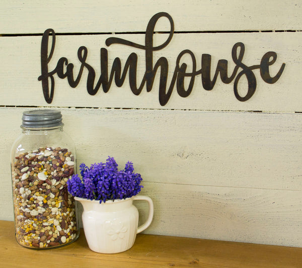 Farmhouse Metal Sign, Farmhouse Decor, Rustic Raw Metal Word Wall Art, Modern Metal Design,  Housewarming Gift