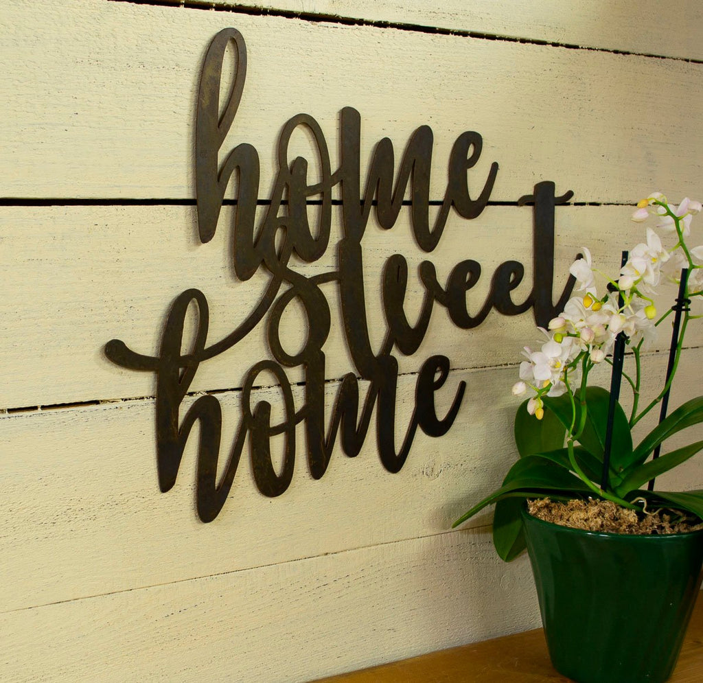 Home Sweet Home Metal Sign Farmhouse Decor Word Wall Art Oregardenworks