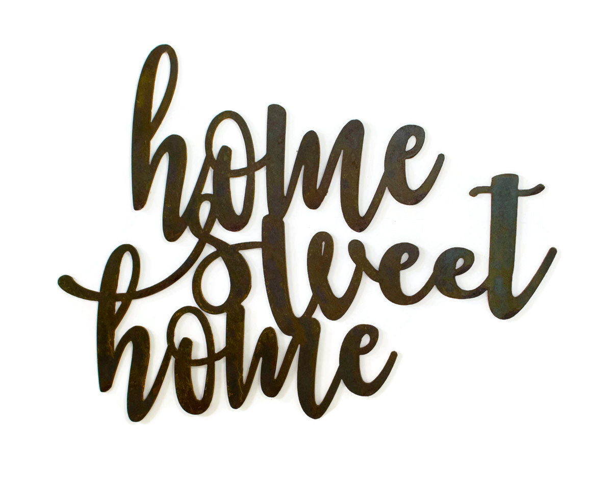 Home Sweet Home Metal Sign, Farmhouse Decor, Rustic Raw Metal Word Wall Art, Country Decoration,  Housewarming Gift