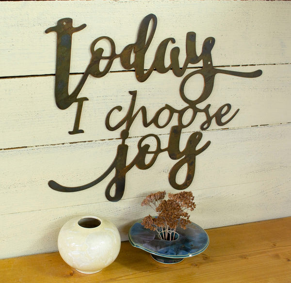 Today I Choose Joy Metal Sign, Farmhouse Decor, Inspirational, Rustic Raw Metal Word Wall Art, Country Decoration,  Housewarming Gift