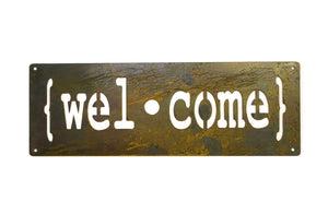 Welcome Metal Sign, Farmhouse Decor, Rustic Raw Metal Word Wall Art, Country Decoration,  Housewarming Gift
