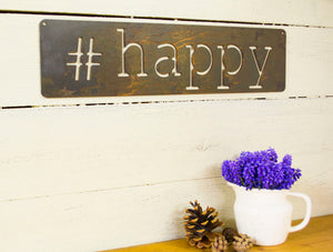Happy Metal Sign, Farmhouse Decor, Rustic Raw Metal Word Wall Art, Country Decoration,  Housewarming Gift