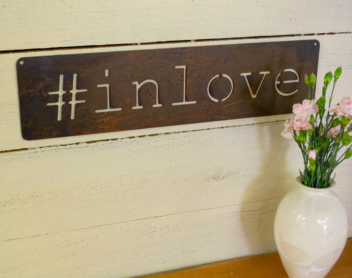 In Love Metal Sign, Farmhouse Decor, Wedding Gift,  Anniversary, Rustic Raw Metal Word Wall Art, Country Decoration,  Housewarming Gift