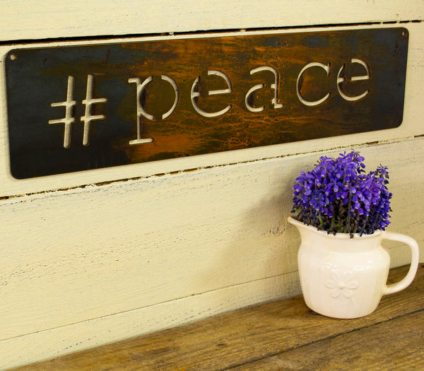 Peace Metal Sign, Farmhouse Decor, Rustic Raw Metal Word Wall Art, Country Decoration,  Housewarming Gift