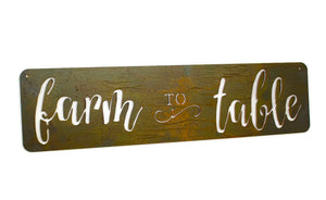 Farm to Table Metal Sign, Farmhouse Decor, Kitchen Decor,  Rustic Raw Metal Word Wall Art, Country Decoration,  Housewarming Gift