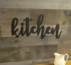 Kitchen Metal Sign, Farmhouse Decor, Rustic Raw Metal Word Wall Art, Housewarming Gift
