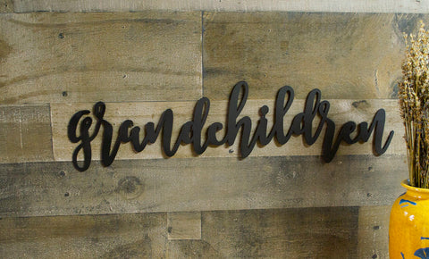Grandchildren Metal Wall Word, Family Decor, Farmhouse, Inspirational, Rustic Raw Metal Word Wall Art, Country Decoration, Housewarming Gift