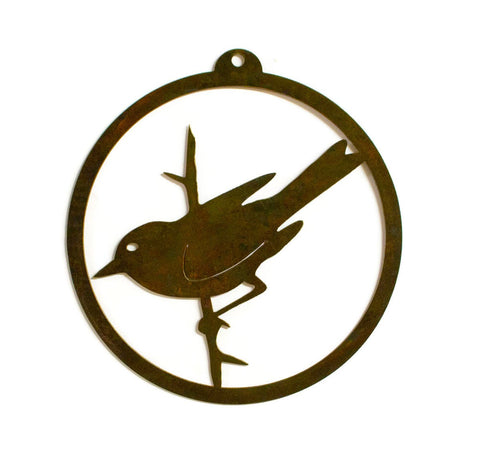 Sparrow, Bird on Branch Rustic Metal Outdoor, Indoor Wall Art, Garden Decoration, Bird Gift
