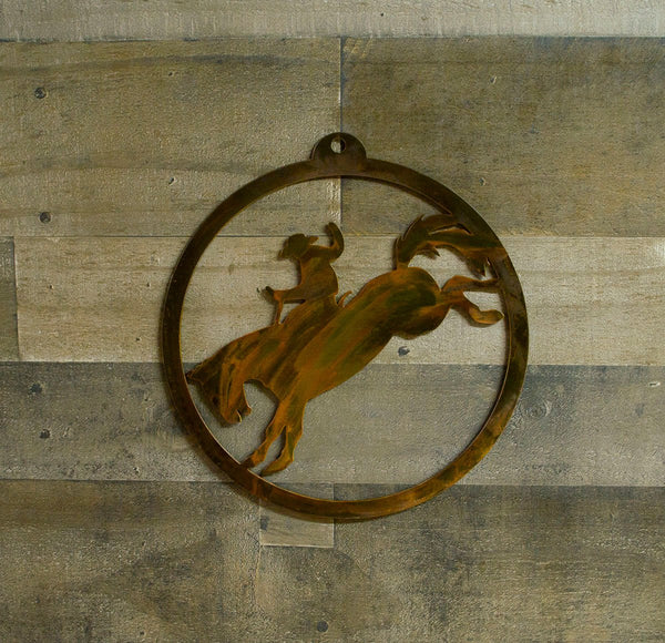 Cowboy, Horse, Rodeo Rustic Metal Outdoor, Indoor Wall Art, Garden Decoration, Gift
