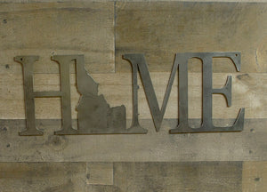 Idaho Home Metal Wall Decor Sign, Industrial, Steel, State Wall Art