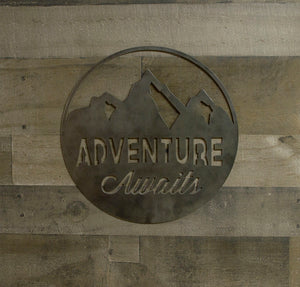 Adventure Awaits Round Metal Sign, Industrial, Farmhouse Decor, Cabin Wall Art,