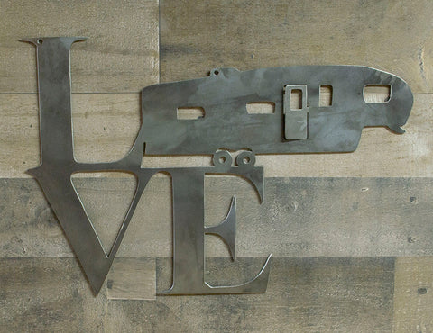 Love RV, Camper, Metal Sign, 5th Wheel, Industrial Steel Wall Decor