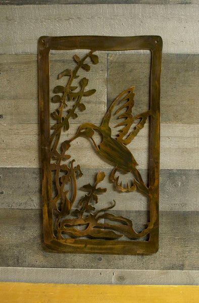 Hummingbird, Flower, Metal Wall Art Panel, Rustic Steel Finish
