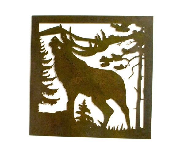 Elk Bugling in Mountains Rustic Metal Wall Art, Outdoorsman, Hunter, Nature Decor