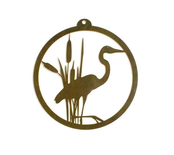 Heron and Cattails Rustic Metal Wall Art, Home Decor, Wall Hanging, Nature Gift Idea