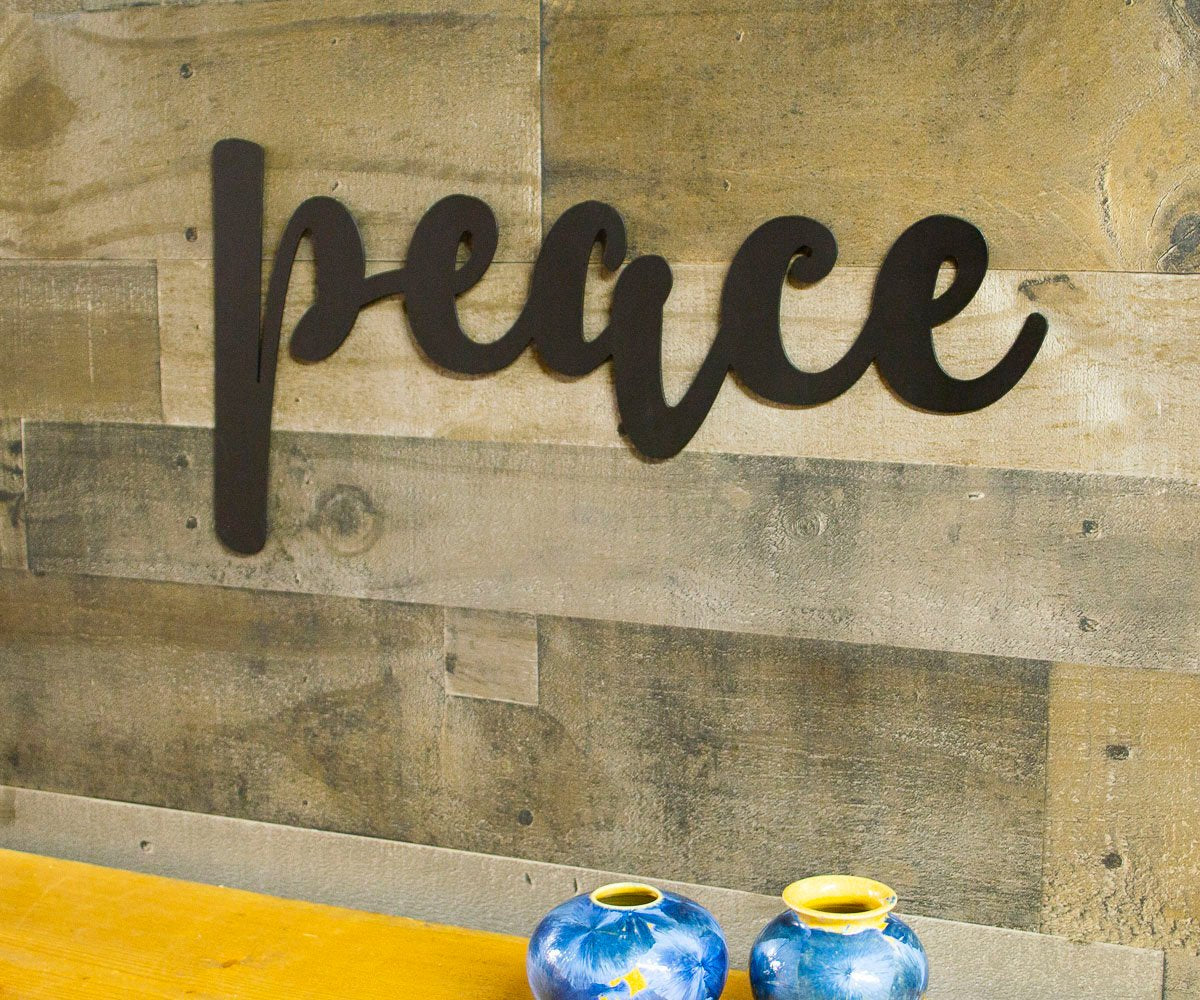 Peace Metal Sign, Farmhouse Decor, Quotes, Sayings, Modern, Living Room Wall, Kitchen Decor, Housewarming Gift