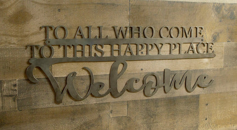 Welcome Metal Sign, Happy Place Wall Saying, Kitchen Decor, Entryway, Housewarming Gift