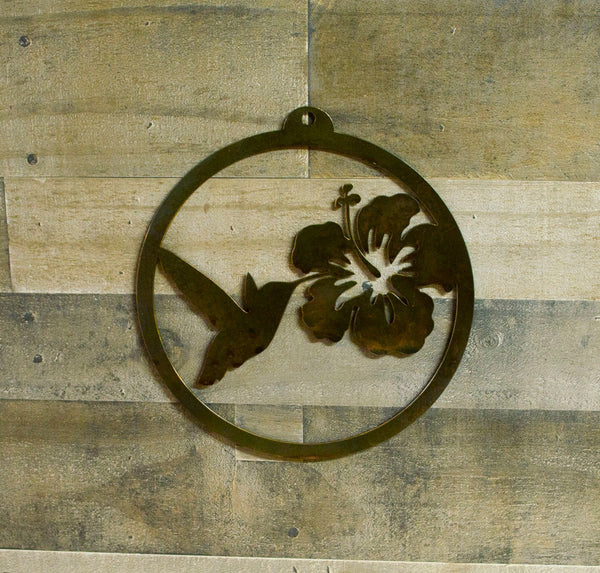 Hummingbird Hibiscus Rustic Metal Wall Art, Home Decor, Gardener Gift Idea