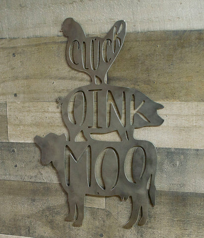Chicken, Pig, Cow Metal Farmhouse Sign, Modern Farmhouse Decor, Steel Wall Decor