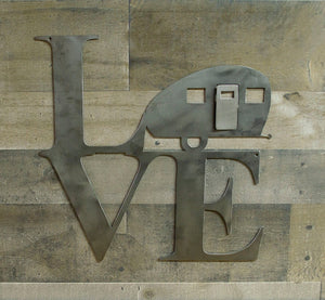 Love Vintage Camper Metal Sign, Travel Trailer, Industrial Decor, Metal Wall Art