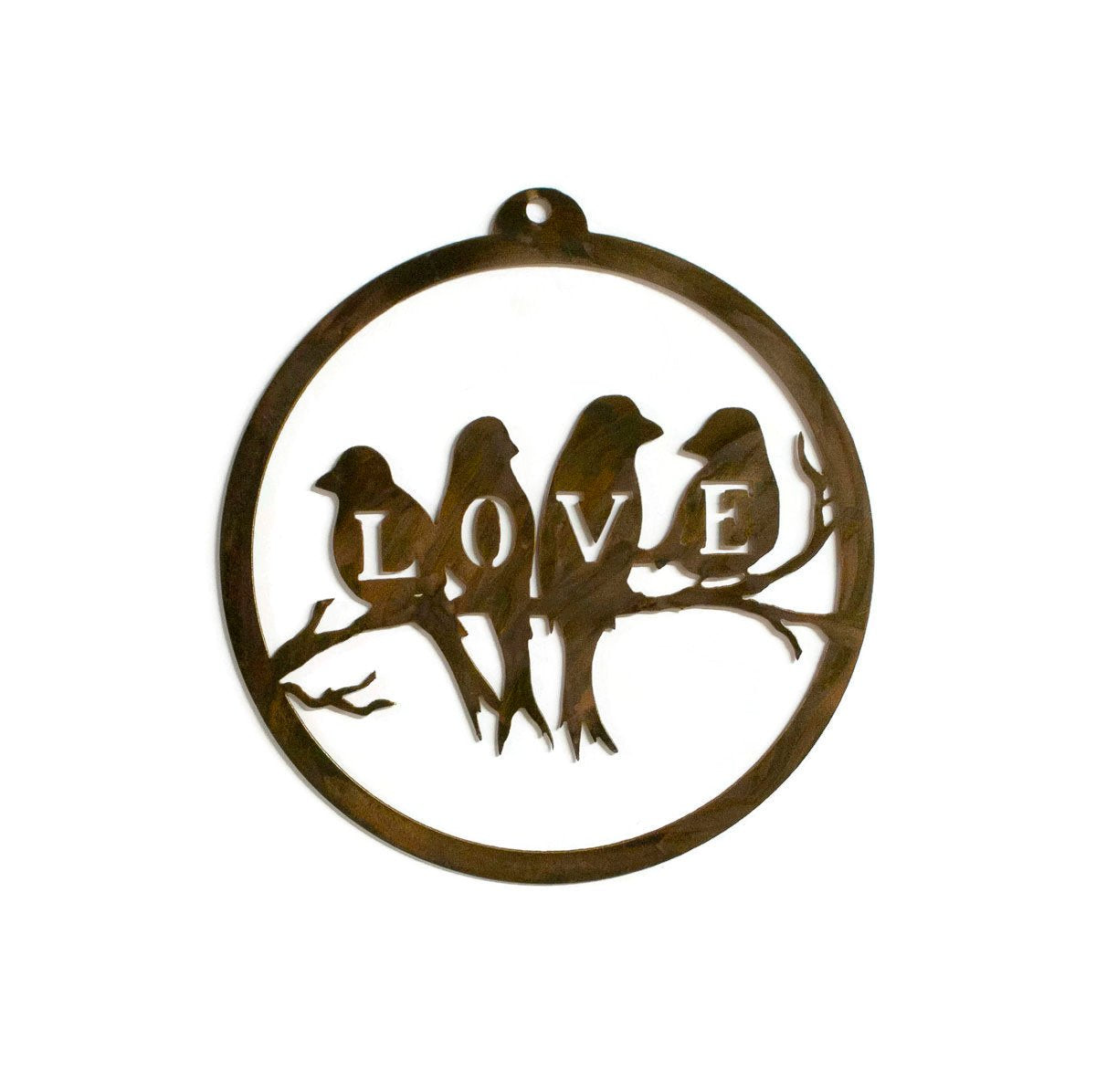 Love Birds Rustic Metal Wall Art, Bird Home Decor, Gift for Gardeners, Anniversary