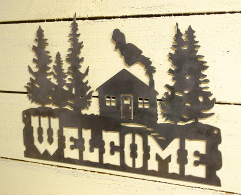 Cabin in Woods Welcome Metal Sign, Cabin, Lodge Decor, Welcome Sign, Metal Sign, Housewarming Gift, Metalwork, Wall Decor, Rustic