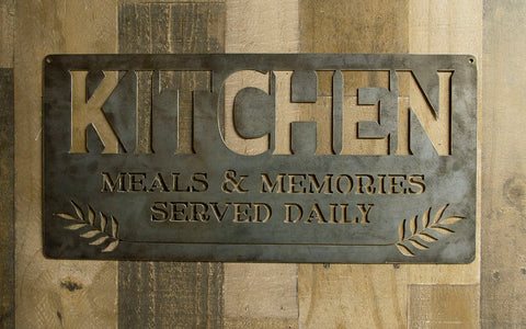 Kitchen Meals and Memories Metal Sign, Dining, Cooking Gift, Kitchen, Bar, Cafe, Housewarming, Industrial, Raw Steel Sign, Wall Decor