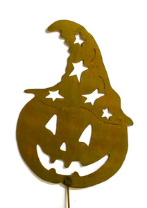 Jack-o-Lantern with Witch Hat Rust Metal Halloween Decoration Yard Stake Art