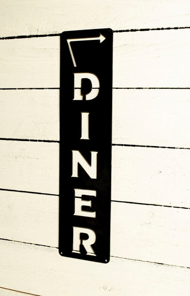 Diner Vertical Sign, Arrow Metal Sign, Left or Right Facing, Kitchen Decor, Cooking, Farmhouse, Cook Gift, Kitchen Wall Art