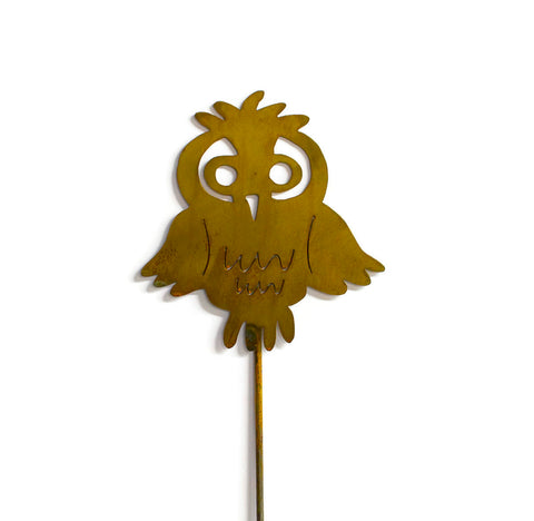 Owl Rust Metal Garden Decor Cute Bird Yard Stake Gift for Gardeners