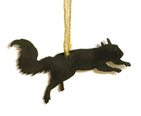 Squirrel Metal Christmas Tree Ornament Holiday Decoration Raw Steel Gift Recycled Nature Home Decor