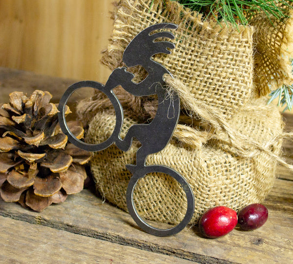 Kokopelli Bicycle Cyclist Metal Christmas Tree Ornament Southwestern Holiday Gift Home Decoration Raw Steel Ironwork Decor Recycled