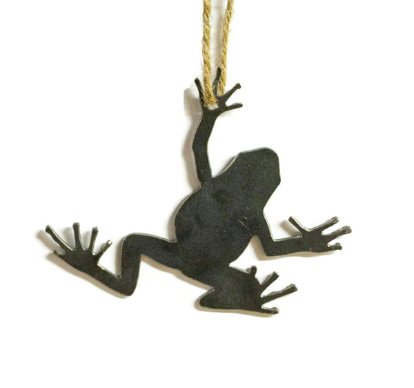 Frog Metal Christmas Tree Ornament Holiday Decoration Raw Steel Gift Recycled Nature Home Decor