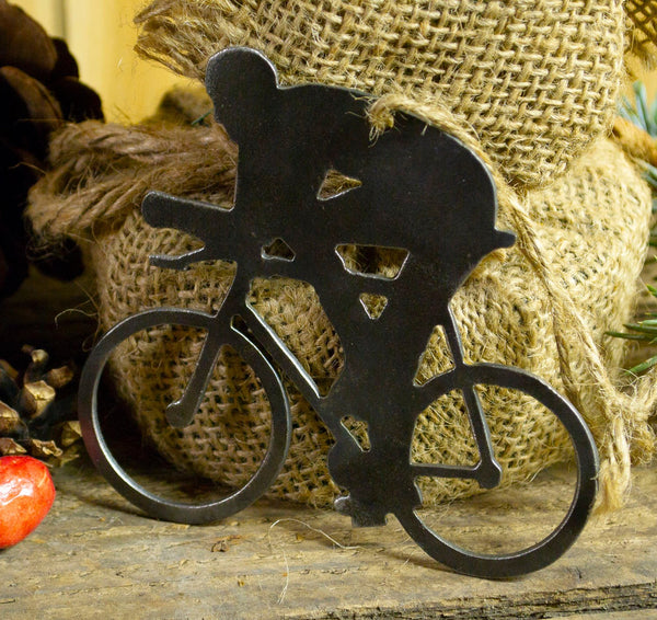 Cyclist Bicycle Metal Christmas Tree Ornament Holiday Decoration Raw Steel Gift Recycled Nature Home Decor