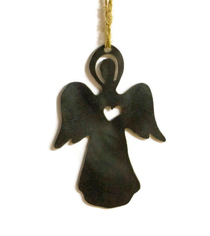 Old Angel Metal Christmas Tree Ornament Stocking Stuffer Holiday Decoration Raw Steel Gift Recycled Nature Home Decor