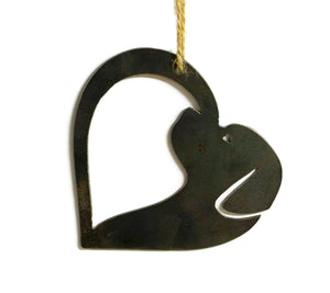 Dog Heart Metal Christmas Ornament Tree Stocking Stuffer Party Favor Holiday Decoration Raw Steel Gift Recycled Nature Home Decor