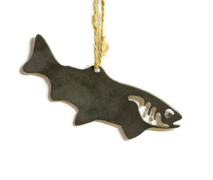 Trout Fishing Metal Christmas Ornament Tree Stocking Stuffer Party Favor Holiday Decoration Raw Steel Gift Recycled Nature Home Decor