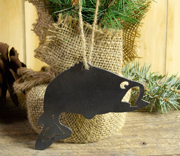 Bass Fish Wide Mouth Metal Christmas Ornament Tree Stocking Stuffer Party Favor Holiday Decoration Raw Steel Gift Recycled Nature Home Decor