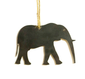 Elephant Metal Christmas Ornament Tree Stocking Stuffer Party Favor Holiday Decoration Raw Steel Gift Recycled Nature Home Decor