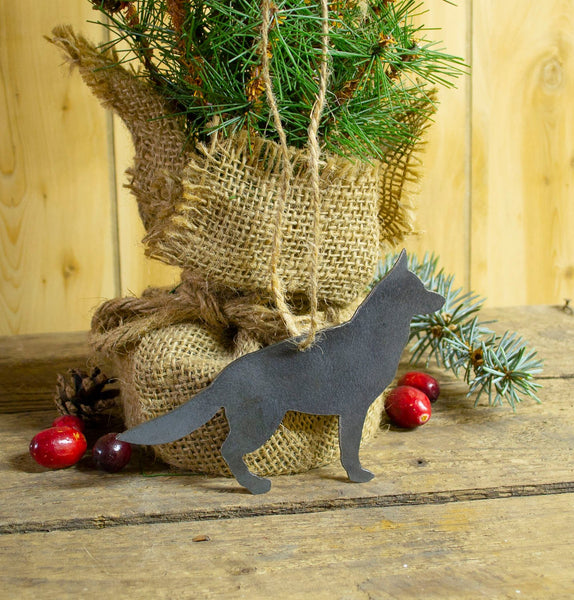 German Shepherd Dog Metal Christmas Ornament Tree Stocking Stuffer Party Favor Holiday Decoration Raw Steel Gift Recycled Nature Home Decor