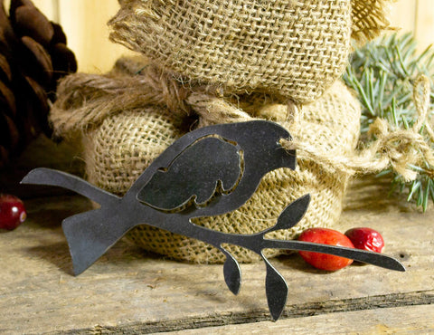 Bird on Branch Metal Christmas Ornament Tree Stocking Stuffer Party Favor Holiday Decoration Raw Steel Gift Recycled Nature Home Decor